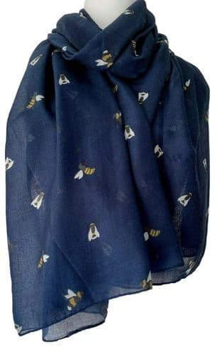 Bee Scarf Ladies Navy Blue Bumble Bees Print Wrap Large Lightweight Shawl